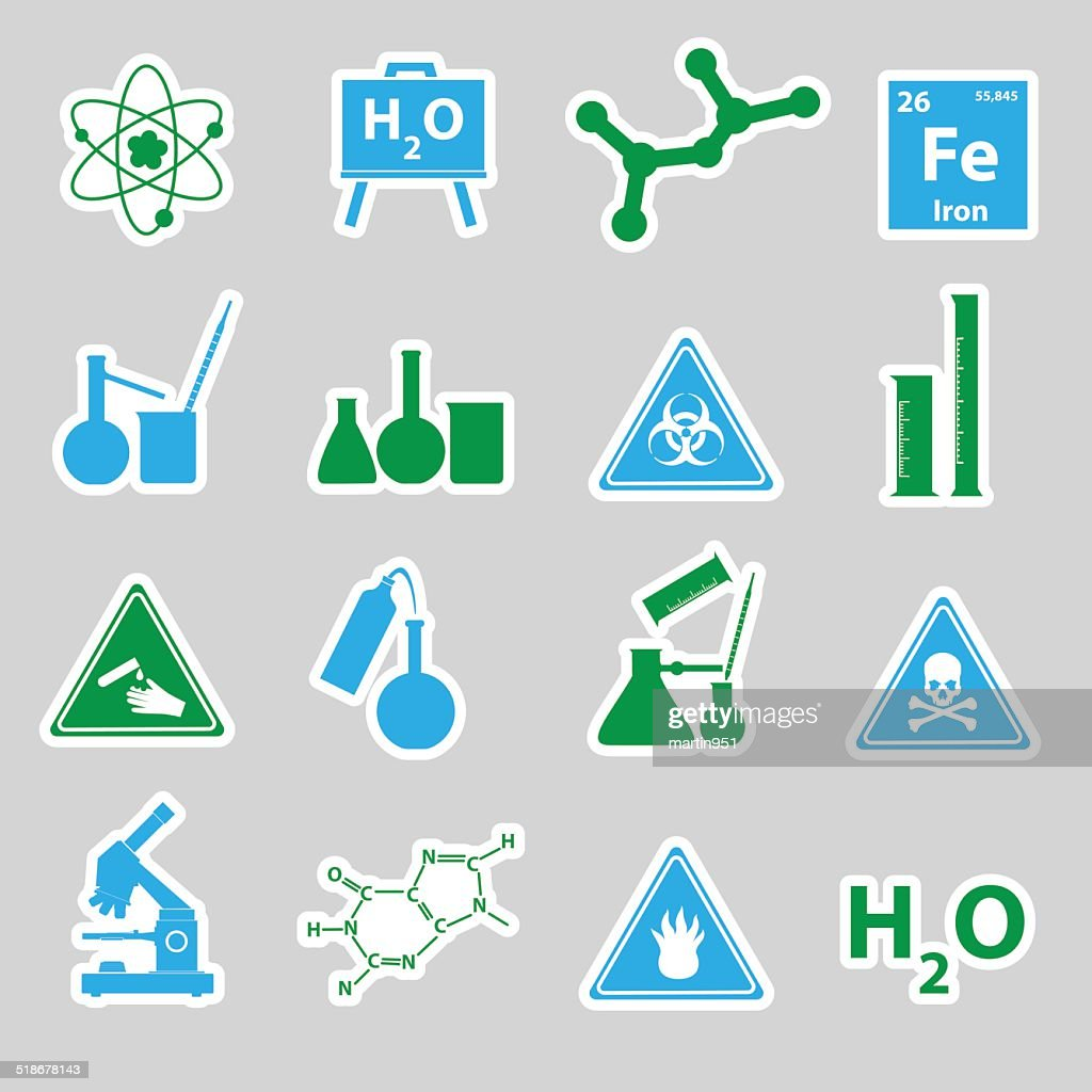 chemistry color stickers set eps10