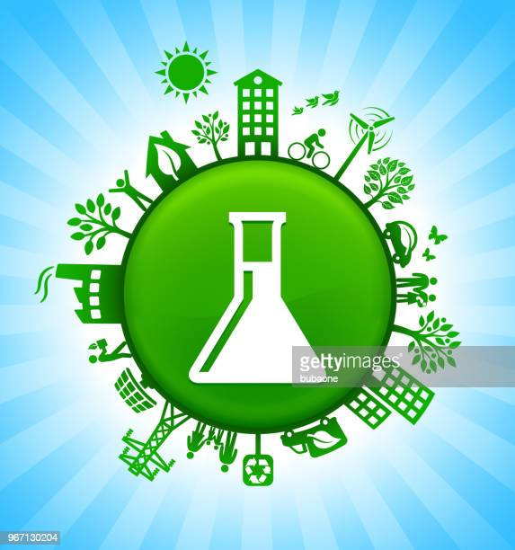 Chemistry Flask Environment Green Button Background on Blue Sky