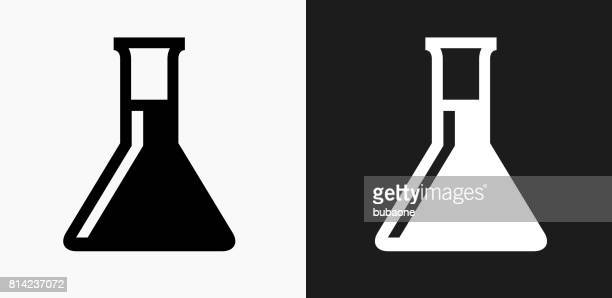 Chemistry Flask Icon on Black and White Vector Backgrounds