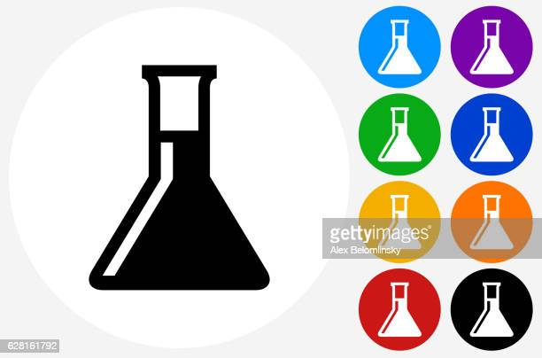 Chemistry Flask Icon on Flat Color Circle Buttons