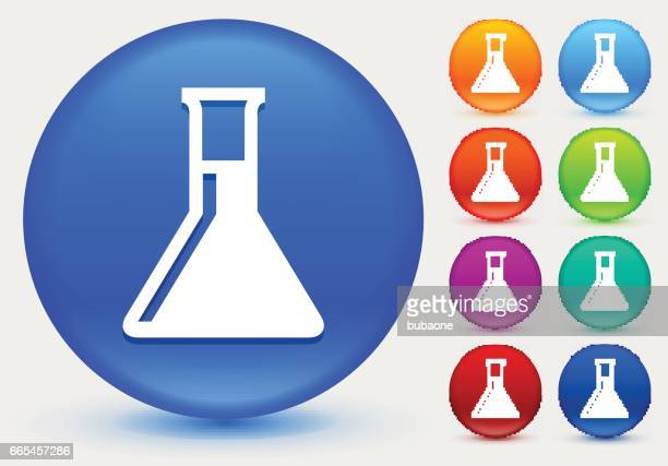 chemistry flask icon on shiny color circle buttons - laboratory glassware stock illustrations