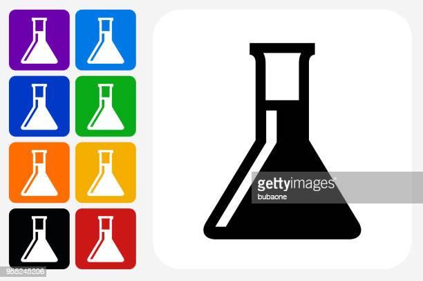 ilustraciones, imágenes clip art, dibujos animados e iconos de stock de química frasco icono cuadrado botón set - material de vidrio de laboratorio