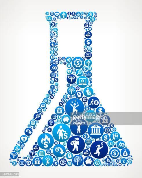Chemistry Flask  Money Blue Icon Pattern Background