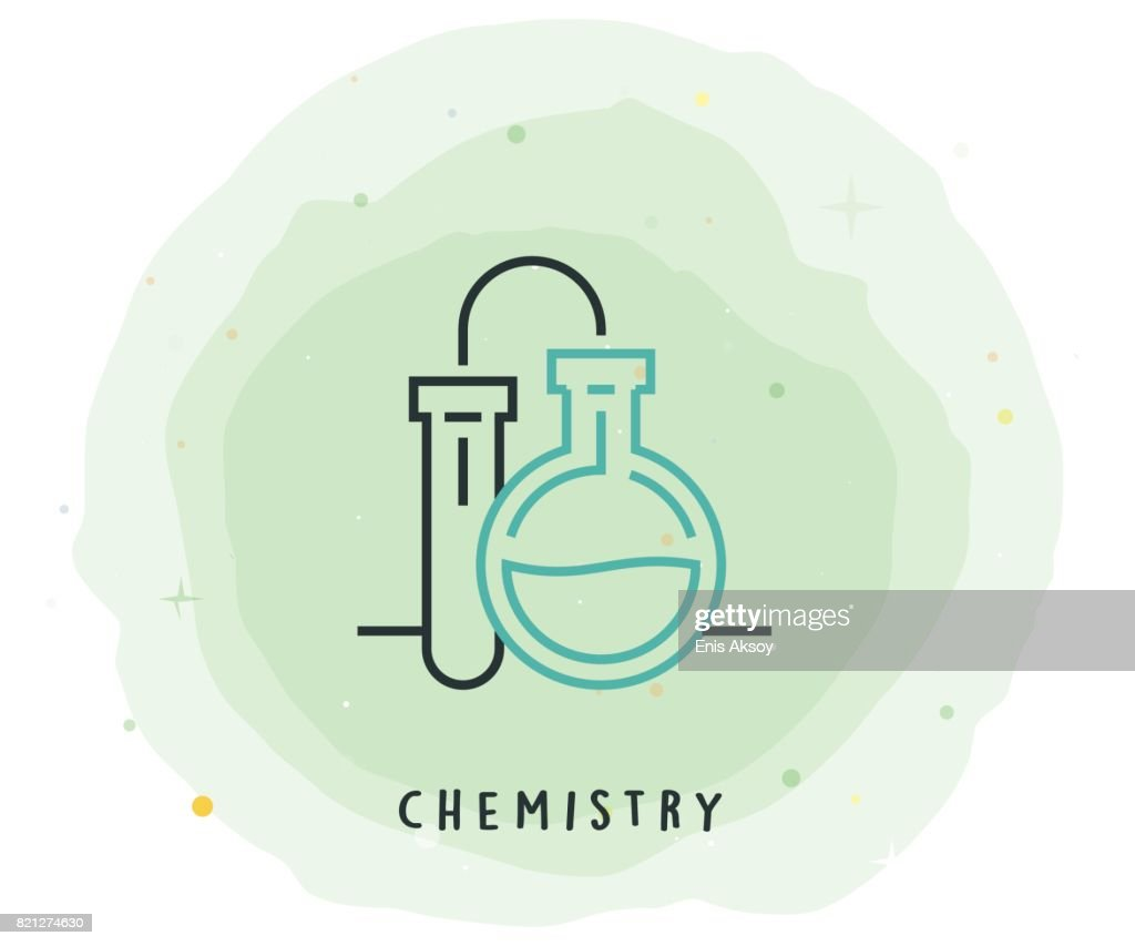 Chemistry Icon with Watercolor Patch : stock illustration