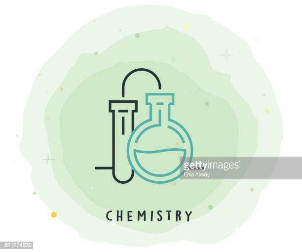 Chemistry Icon with Watercolor Patch