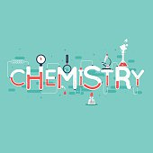 Chemistry infographic. Typographic poster. Banner. Flat design vector illustration.