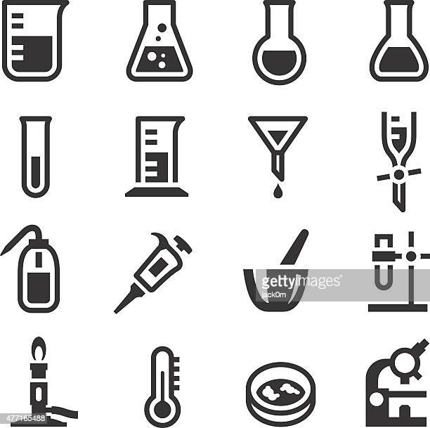 chemistry lab icons set 1 - mortar and pestle stock illustrations, clip art, cartoons, & icons