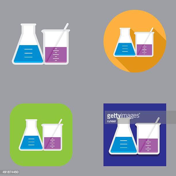 chemistry laboratory flask and beaker icons   kalaful series - beaker stock illustrations