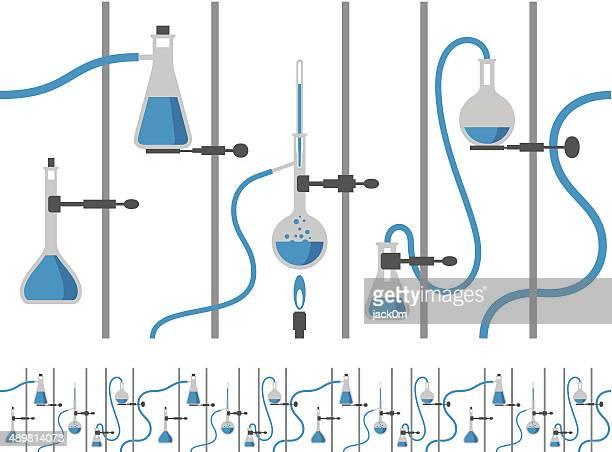 chemistry laboratory - two tone background - bunsen burner stock illustrations