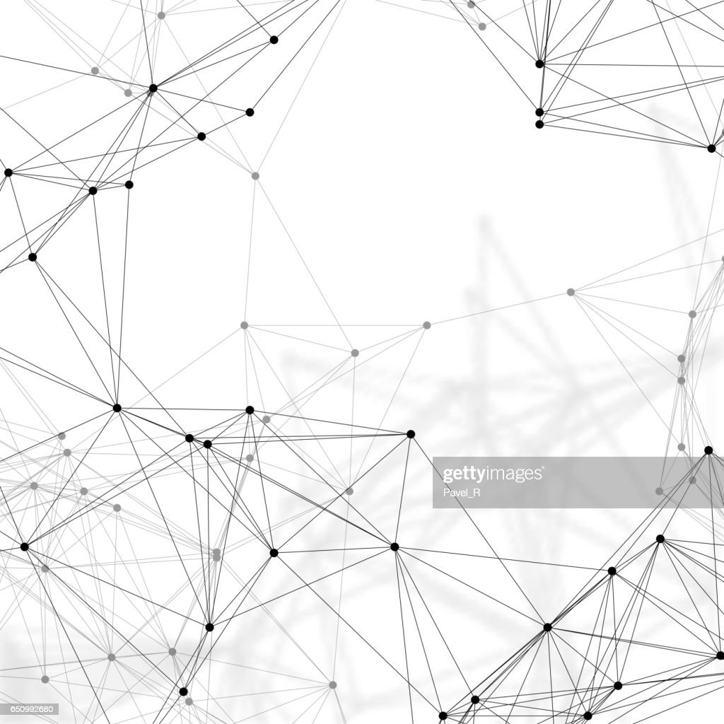 Chemistry pattern, connecting lines and dots, molecule structure on white, scientific medical DNA research, geometric graphic background. Medicine, science and technology concept. Minimalistic design