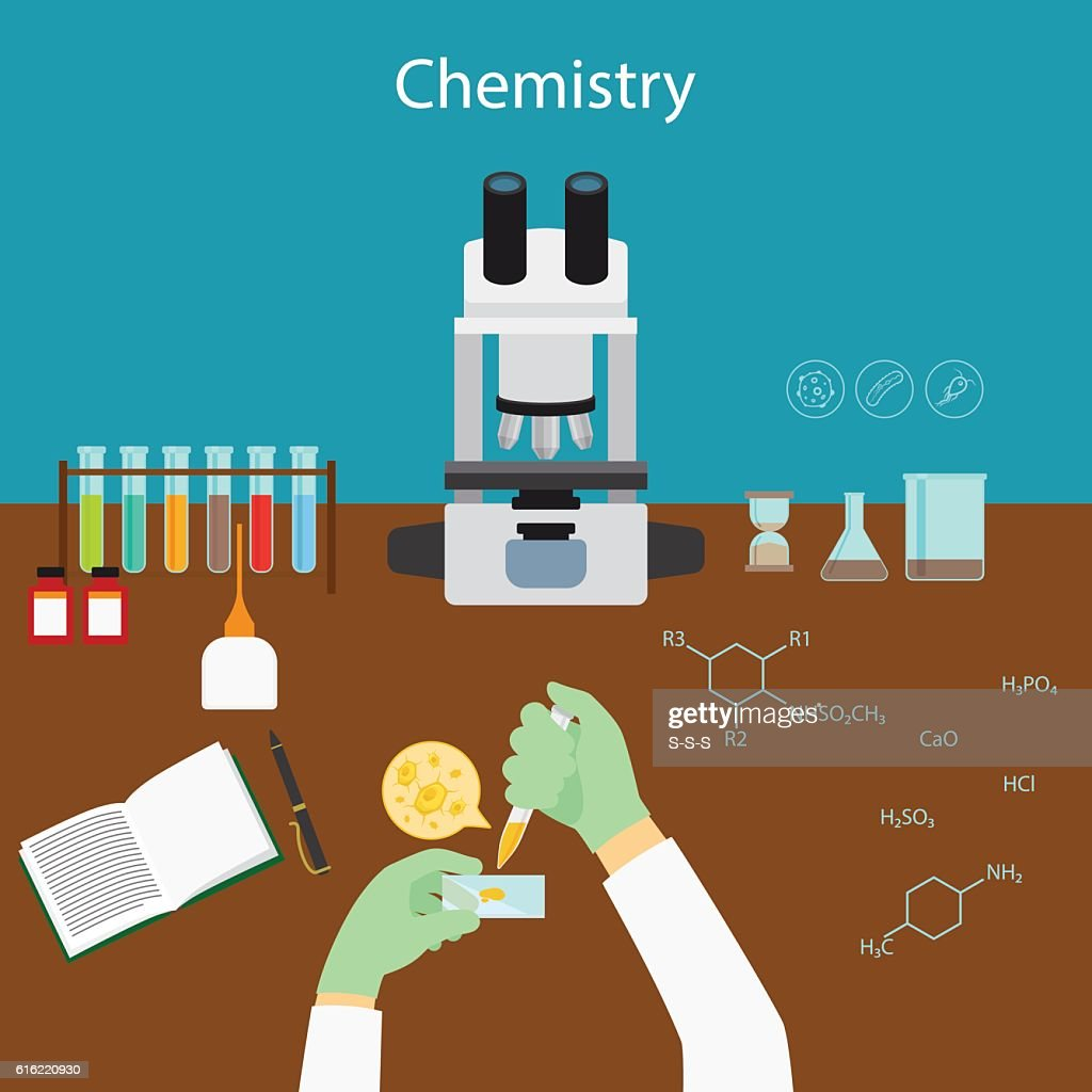 Chemistry research in laboratory : Vector Art