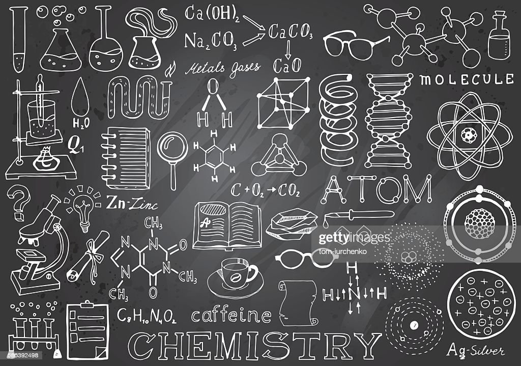 Chemistry Science Doodle Hand Drawn Elements in Gray Chalkboard Background.