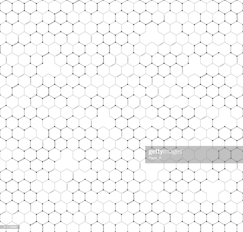 Chemistry seamless pattern, hexagonal design vector illustration
