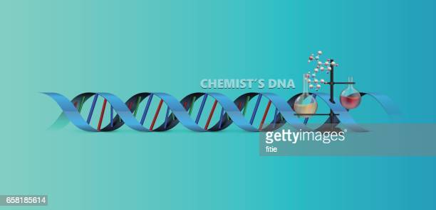 chemist's dna background with molecules and balloon flask - collagen stock illustrations