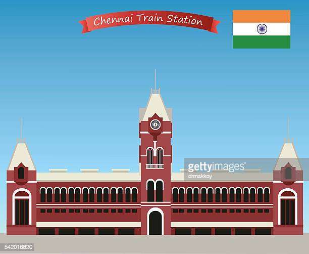 chennai central railway station - chennai stock illustrations
