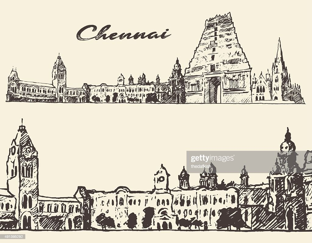 Chennai engraved illustration hand drawn sketch