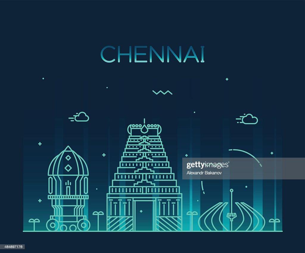 Chennai skyline trendy vector illustration linear