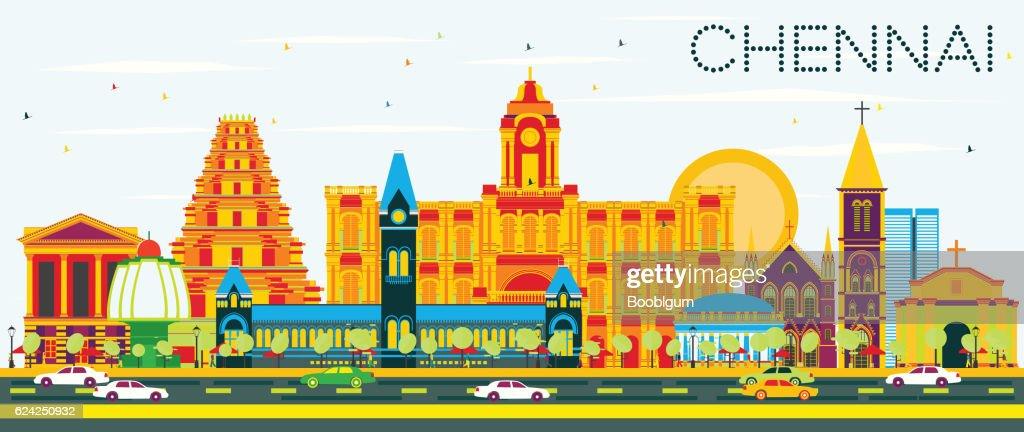 Chennai Skyline with Color Landmarks and Blue Sky.