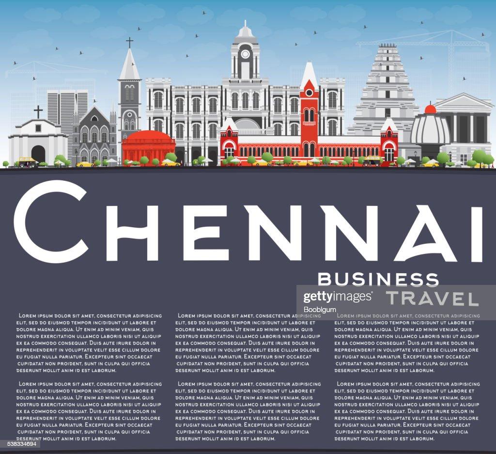 Chennai Skyline with Gray Landmarks, Blue Sky and Copy Space.