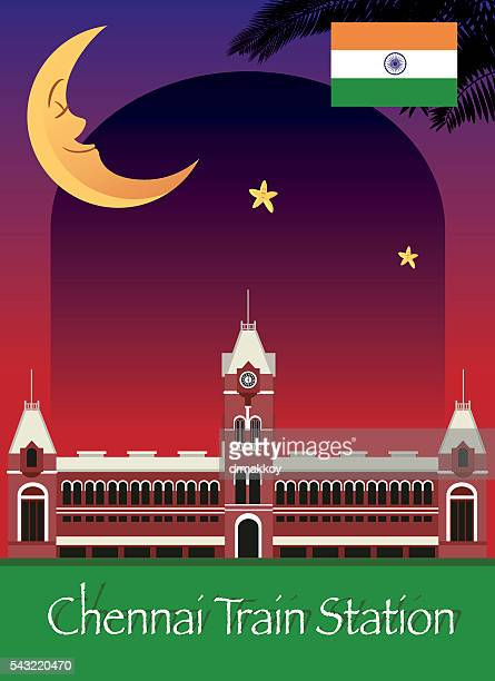 chennai train station - chennai stock illustrations