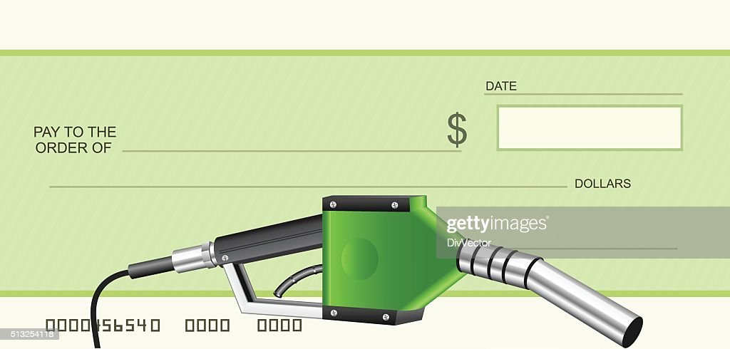 Cheque with green gas nozzle