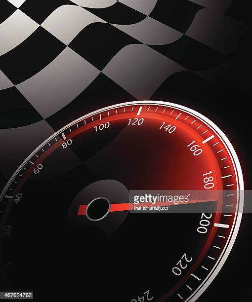 Chequered flag and speedometer