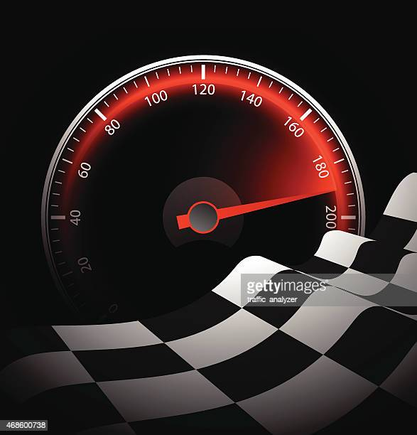 chequered flag and speedometer - speedometer stock illustrations