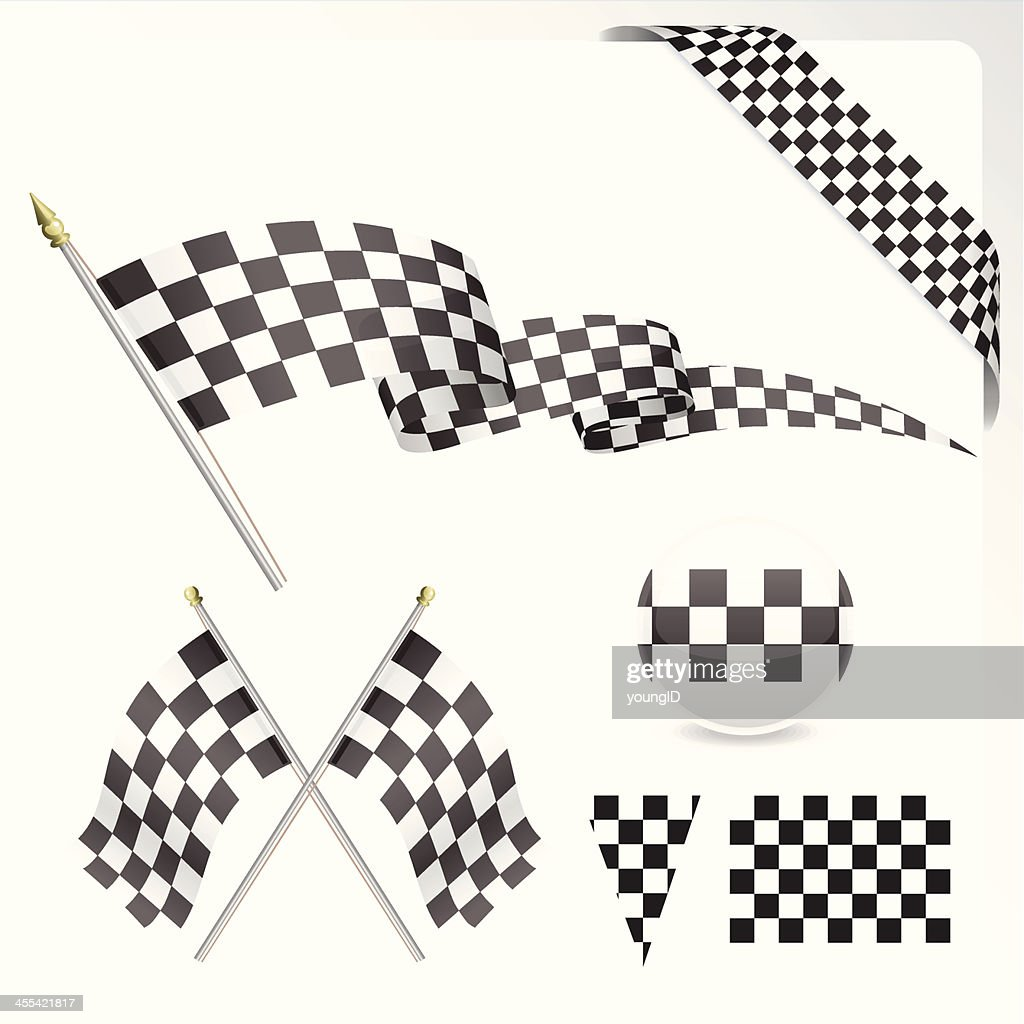 Chequered Flag Set : stock illustration
