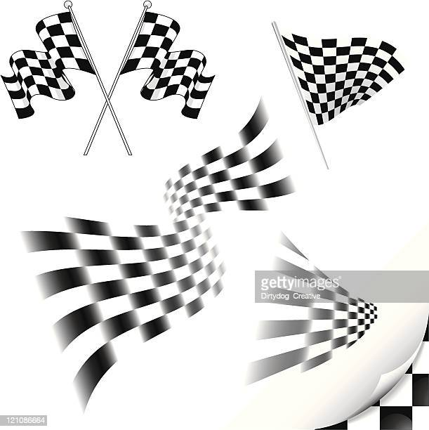 chequered flags - checkered flag stock illustrations