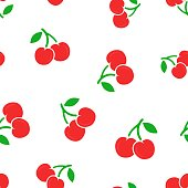 Cherry berry icon seamless pattern background. Business concept vector illustration. Sweet cherry healthy food symbol pattern.