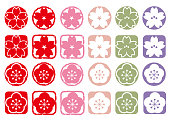 Cherry blossom and ume icon set