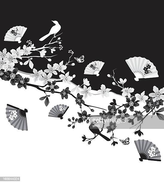 illustrations, cliparts, dessins animés et icônes de fleur de cerisier branches - cerisier japonais