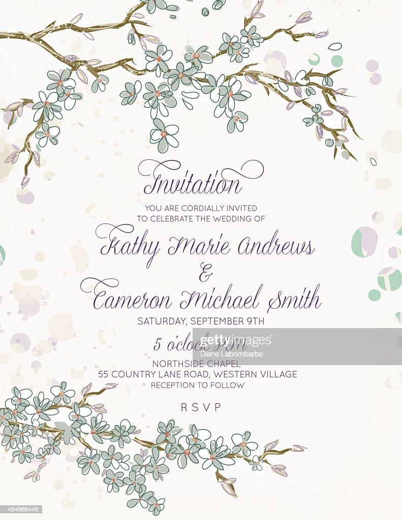 Cherry Blossom Branches Vertical Wedding Invitation On White Vector ...