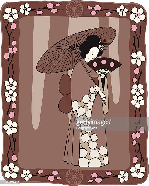 cherry blossom festival - only japanese stock illustrations, clip art, cartoons, & icons