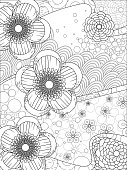 cherry blossom floral coloring page