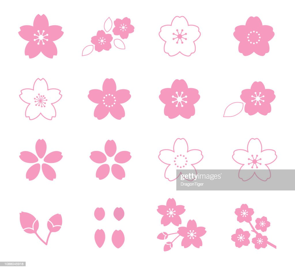 Cherry Blossom Flower Icon Set