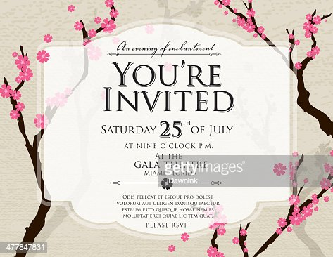 cherry blossom generic invitation design template spring invite vector art getty images. Black Bedroom Furniture Sets. Home Design Ideas