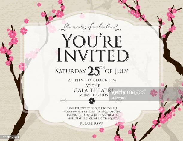 ilustraciones, imágenes clip art, dibujos animados e iconos de stock de cherry blossom genérico diseño de plantilla de la invitación de invitación - social grace