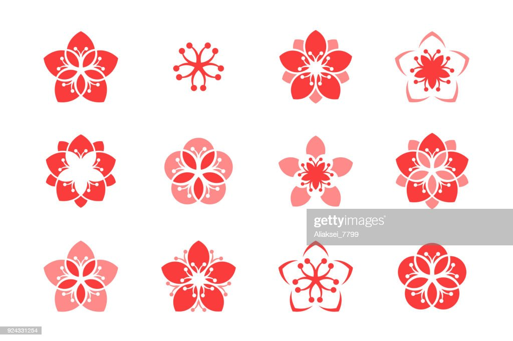 Cherry blossom. Icon set. Sakura. Abstract flowers on white background
