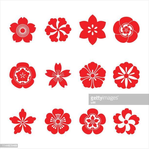 ilustraciones, imágenes clip art, dibujos animados e iconos de stock de iconos de flor de cerezo 03 - pintura rupestre