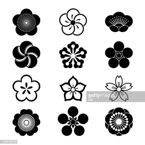 kirschblüte-symbole - blütenblatt stock-grafiken, -clipart, -cartoons und -symbole