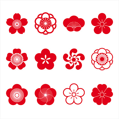 Cherry blossom icons - gettyimageskorea
