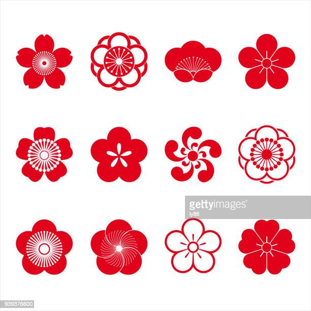 stockillustraties, clipart, cartoons en iconen met de pictogrammen van de kersenbloesem - japan