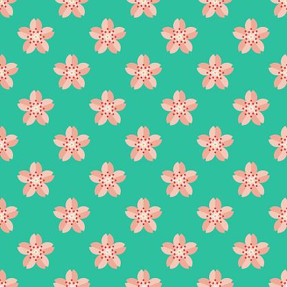 Cherry Blossom Japanese Seamless Pattern - gettyimageskorea
