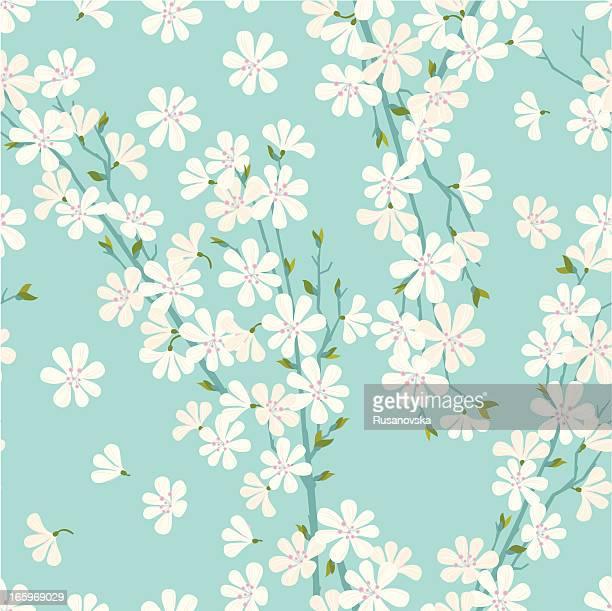 cherry blossom pattern - floral pattern stock illustrations