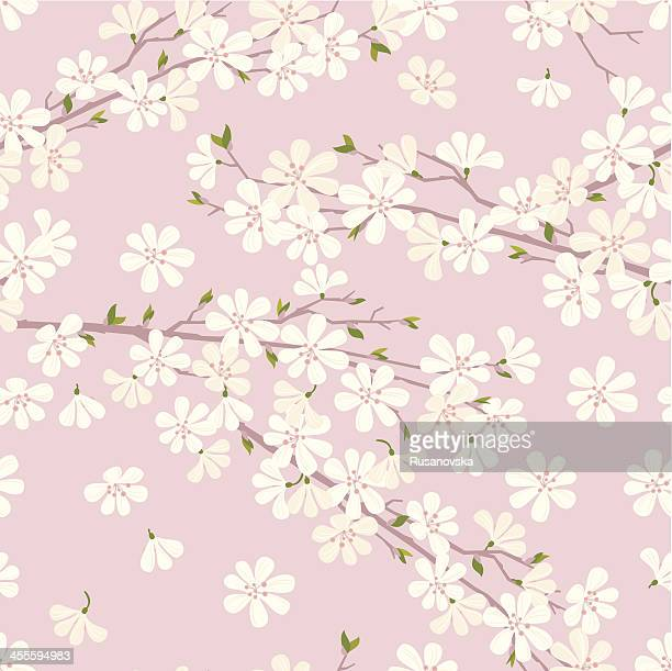 stockillustraties, clipart, cartoons en iconen met cherry blossom pattern - bloesem