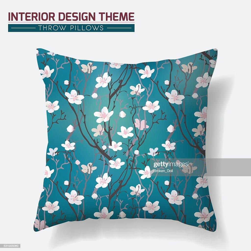 Cherry Blossom Throw Pillow design template