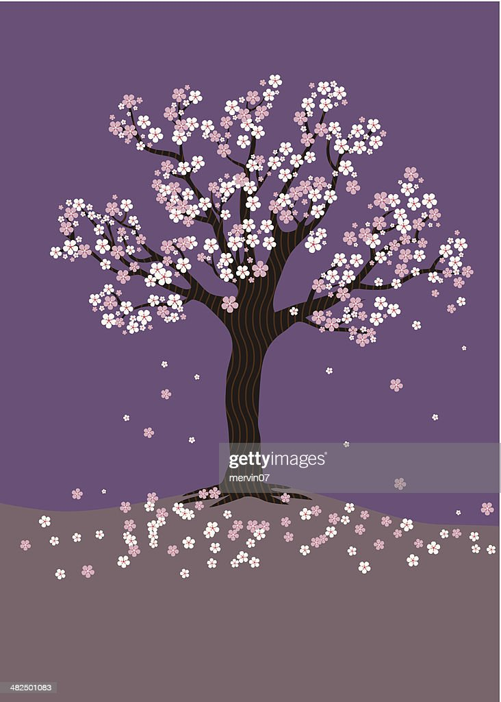 Cherry Blossom Tree on a purple background