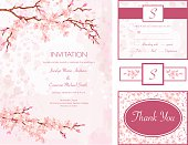 Cherry Blossom Water Color Style Wedding Invitation Set
