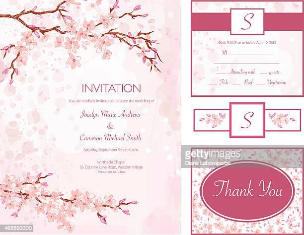 cherry blossom water color style wedding invitation set - cherry blossom stock illustrations, clip art, cartoons, & icons